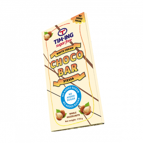 Choco Bar White Cream Stevia Whole Hazzelnuts 110g no added sugar